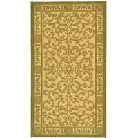 Safavieh Beaches Scrollwork Natural/ Olive Green Indoor/ Outdoor Rug - 2'7 x 5'