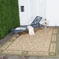 Safavieh Beaches Scrollwork Natural/ Olive Green Indoor/ Outdoor Rug - 6'7 x 9'6