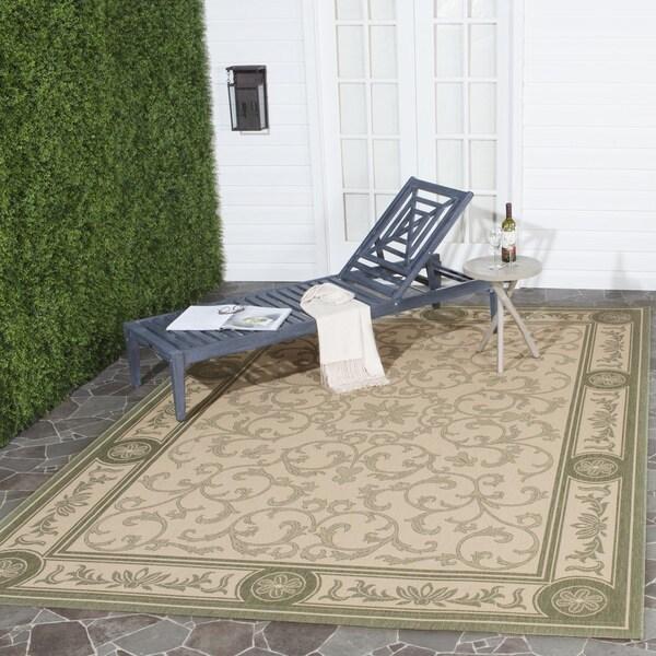 Safavieh Indoor/ Outdoor Beaches Natural/ Olive Rug (8' x 11')