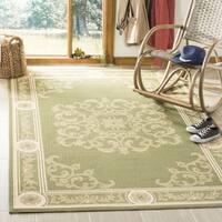 Safavieh Sunny Medallion Olive Green/ Natural Indoor/ Outdoor Rug - 2'7 x 5'