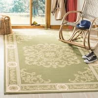 "Safavieh Sunny Medallion Olive Green/ Natural Indoor/ Outdoor Rug - 5'3"" x 7'7"""