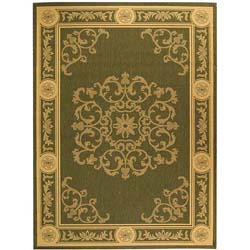 Safavieh Sunny Medallion Olive Green/ Natural Indoor/ Outdoor Rug (8' x 11')