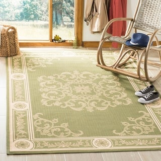 Safavieh Sunny Medallion Olive Green/ Natural Indoor/ Outdoor Rug (8' x 11')