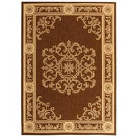 "Safavieh Sunny Medallion Chocolate/ Natural Indoor/ Outdoor Rug - 2'-7"" x 5'"