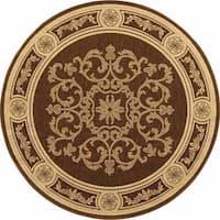 Safavieh Sunny Medallion Chocolate/ Natural Indoor/ Outdoor Rug (5'3 Round)