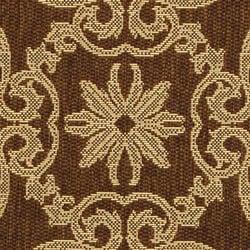 Safavieh Sunny Medallion Chocolate/ Natural Indoor/ Outdoor Rug (6'7 Round) - Thumbnail 1