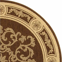 Safavieh Sunny Medallion Chocolate/ Natural Indoor/ Outdoor Rug (6'7 Round) - Thumbnail 2
