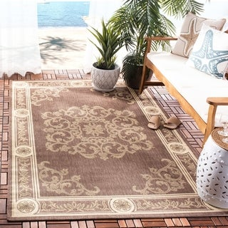 Safavieh Indoor/ Outdoor Sunny Chocolate/ Natural Rug (8' x 11')