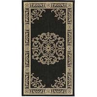 Safavieh Sunny Medallion Black/ Sand Indoor/ Outdoor Runner - 2' x 3'7