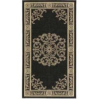 Safavieh Sunny Medallion Black/ Sand Indoor/ Outdoor Rug - 2'7 x 5'