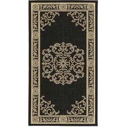 Safavieh Sunny Medallion Black/ Sand Indoor/ Outdoor Rug (4' x 5'7)