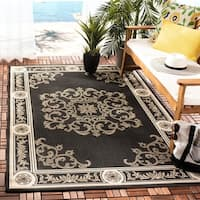 Safavieh Sunny Medallion Black/ Sand Indoor/ Outdoor Rug - 4' x 5'7""
