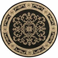 "Safavieh Sunny Medallion Black/ Sand Indoor/ Outdoor Rug - 6'7"" x 6'7"" round"