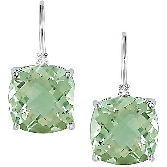 9f0f7f105 Shop Miadora 10k White Gold Green Amethyst and Diamond Accent Earrings -  Free Shipping Today - Overstock - 3228801