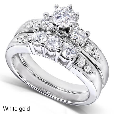 Annello by Kobelli 14k Gold 1 1/4ct TDW 3-Stone Diamond Bridal Rings Set