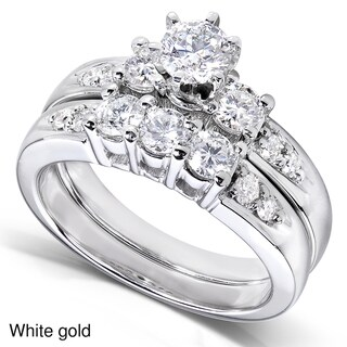Annello by Kobelli 14k Gold 1 1/4ct TDW Diamond Bridal Ring Set (H-I, I1-I2)