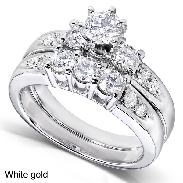 Annello by Kobelli 14k Gold 1 1/4ct TDW Diamond Bridal Ring Set