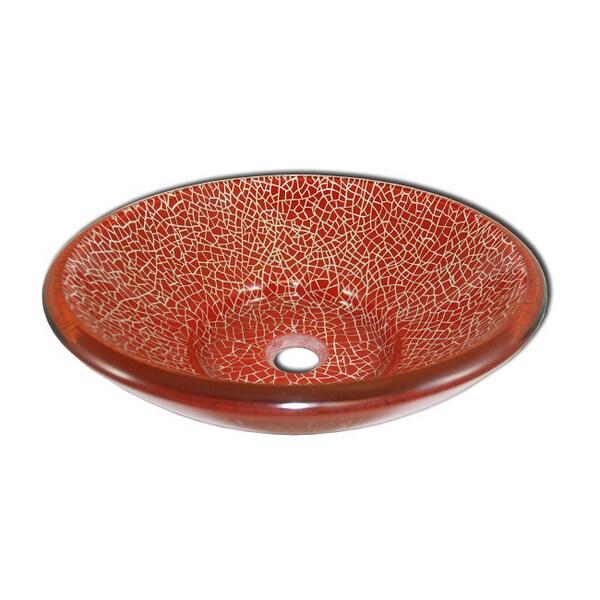 Red Crackle Tempered Glass Vessel Bathroom Sink