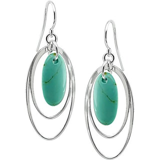 Miadora Sterling Silver Oval Turquoise Hook Earrings