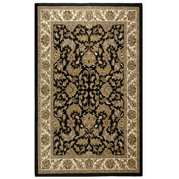 Black Handmade Elite Traditional Wool Rug (5' x 8') - 5' x 8'
