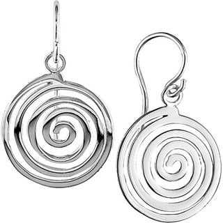 Miadora Sterling Silver Round Spiral Hook Earrings