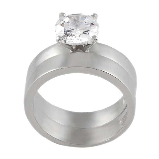 Journee Collection  Sterling Silver Round CZ Solitaire Bridal Set Ring