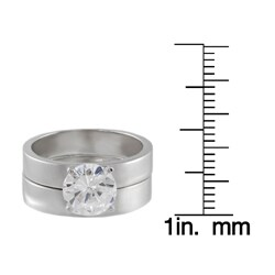 Journee Collection  Sterling Silver Round CZ Solitaire Bridal Set Ring - Thumbnail 2