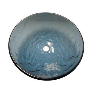 Ocean Wave Modern Glass Vessel Bathroom Sink