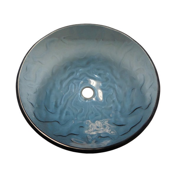 Ocean Wave Modern Glass Vessel Bathroom Sink