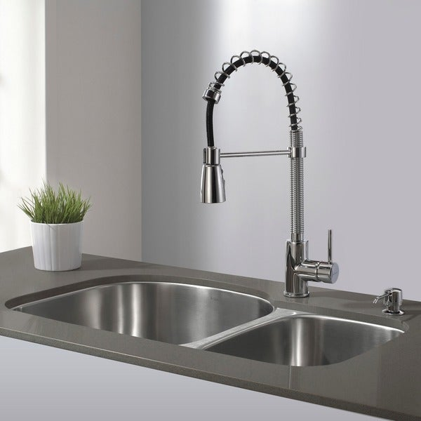 Kraus Single Lever Modern Spiral Pull-out Kitchen Faucet