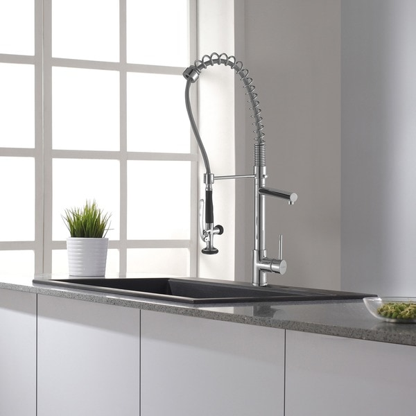 KRAUS Commercial Style Single Handle Kitchen Faucet With Pull Down  Pre Rinse Sprayer   Free Shipping Today   Overstock.com   11345091