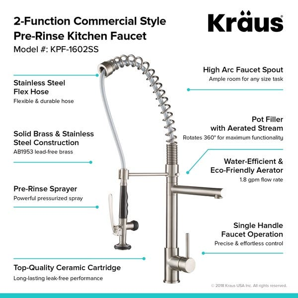 Shop Kraus KPF-1602 Commercial-Style 1-Handle 2-Function Pre ...