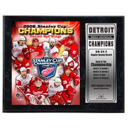 Detroit Red Wings '08 Champs 12x15 Plaque