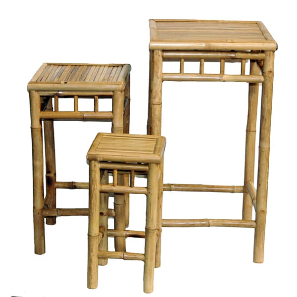 Set of 3 Nesting Bamboo End Tables (Vietnam)