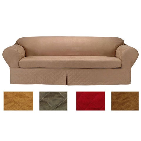 Classic Slipcovers Microsuede Quilted 2-piece Sofa Slipcover