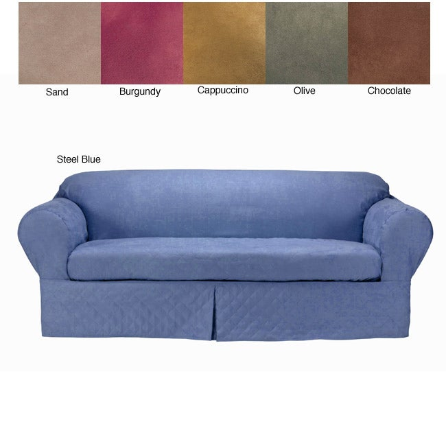 Classic Slipcovers Microsuede Quilted 2-piece Loveseat Sl...