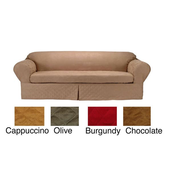 Outstanding Classic Slipcovers Microsuede Quilted 2 Piece Chair Slipcover Machost Co Dining Chair Design Ideas Machostcouk