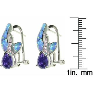 Carolina Glamour Collection Sterling Silver Created Opal and CZ Crossover Earrings