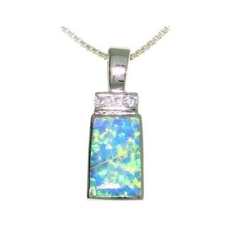 Carolina Glamour Collection Sterling Silver Created Opal and CZ Rectangle Necklace