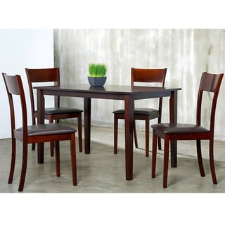 IDA Bi-cast Leather and Wood 5-piece Dining Furniture Set