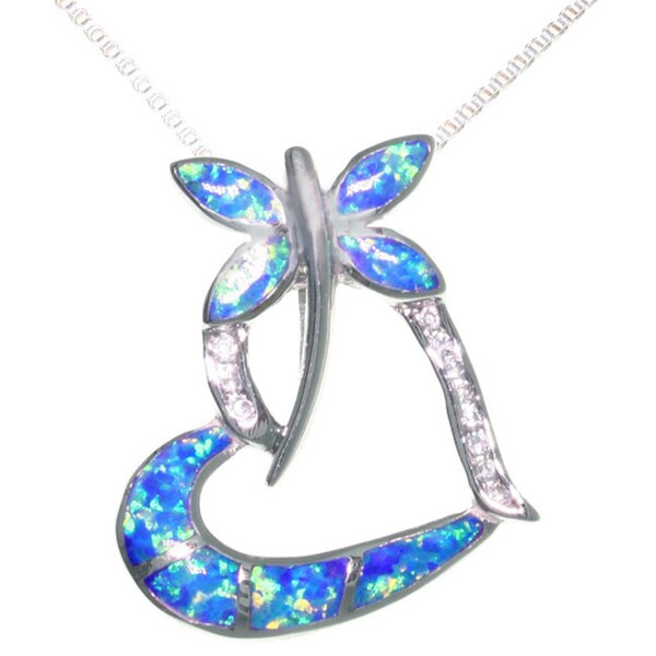 Carolina Glamour Collection Sterling Silver Created Opal CZ Dragonfly Necklace