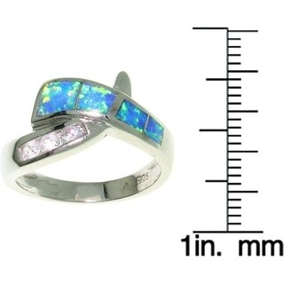 Sterling Silver Opal and CZ Crossover Ring
