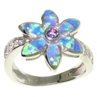 Carolina Glamour Collection Sterling Silver Opal and CZ Flower Ring