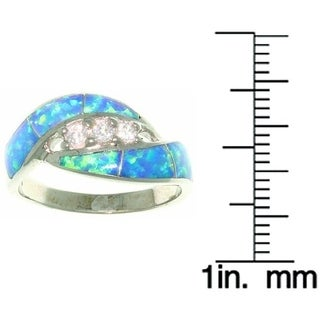 Carolina Glamour Collection Sterling Silver Opal and Dazzling CZ Ring