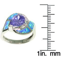 Jewelry Trends Sterling Silver Opal and CZ Magnificent Ring