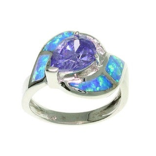 Carolina Glamour Collection Sterling Silver Opal and CZ Magnificent Ring