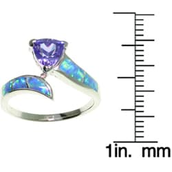 Jewelry Trends Sterling Silver Opal and Purple CZ Ring