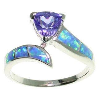 Carolina Glamour Collection Sterling Silver Opal and Purple CZ Ring