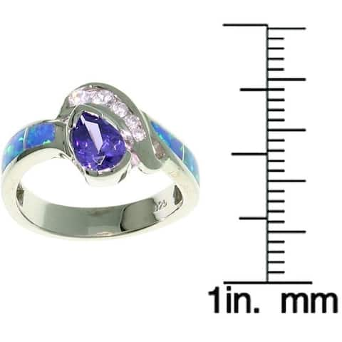 Sterling Silver Opal and CZ Elegant Ring