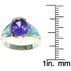 Jewelry Trends Sterling Silver Opal and Large Oval CZ Ring